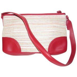 Etienne Aigner Multicolored Tweed and Red Leather